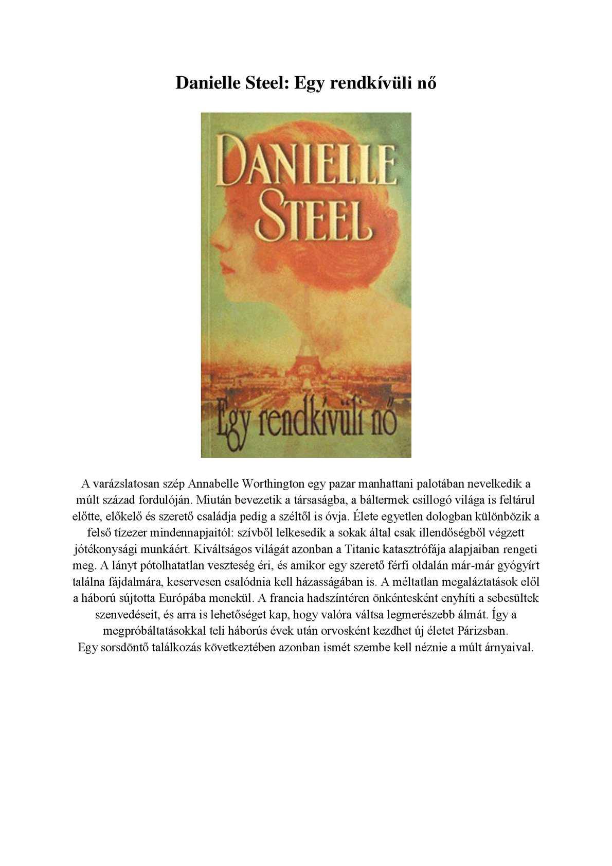 Danielle Steel Egy rendkívüli nő
