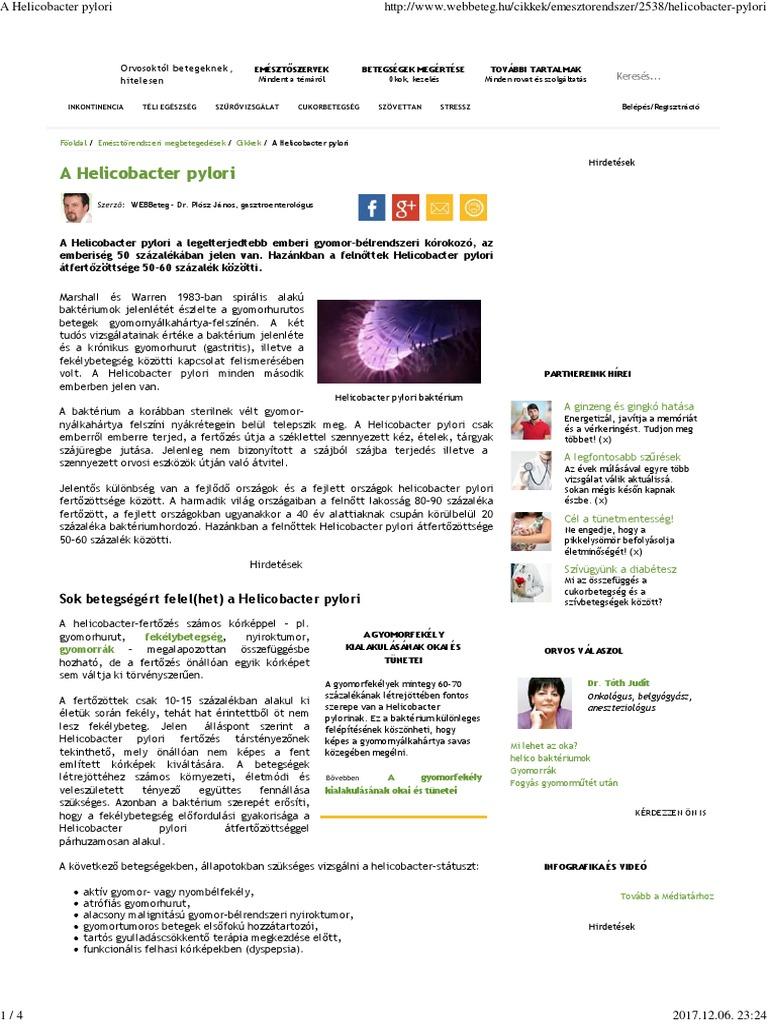 helicobacter pylori fogyás fogyás előkészületek